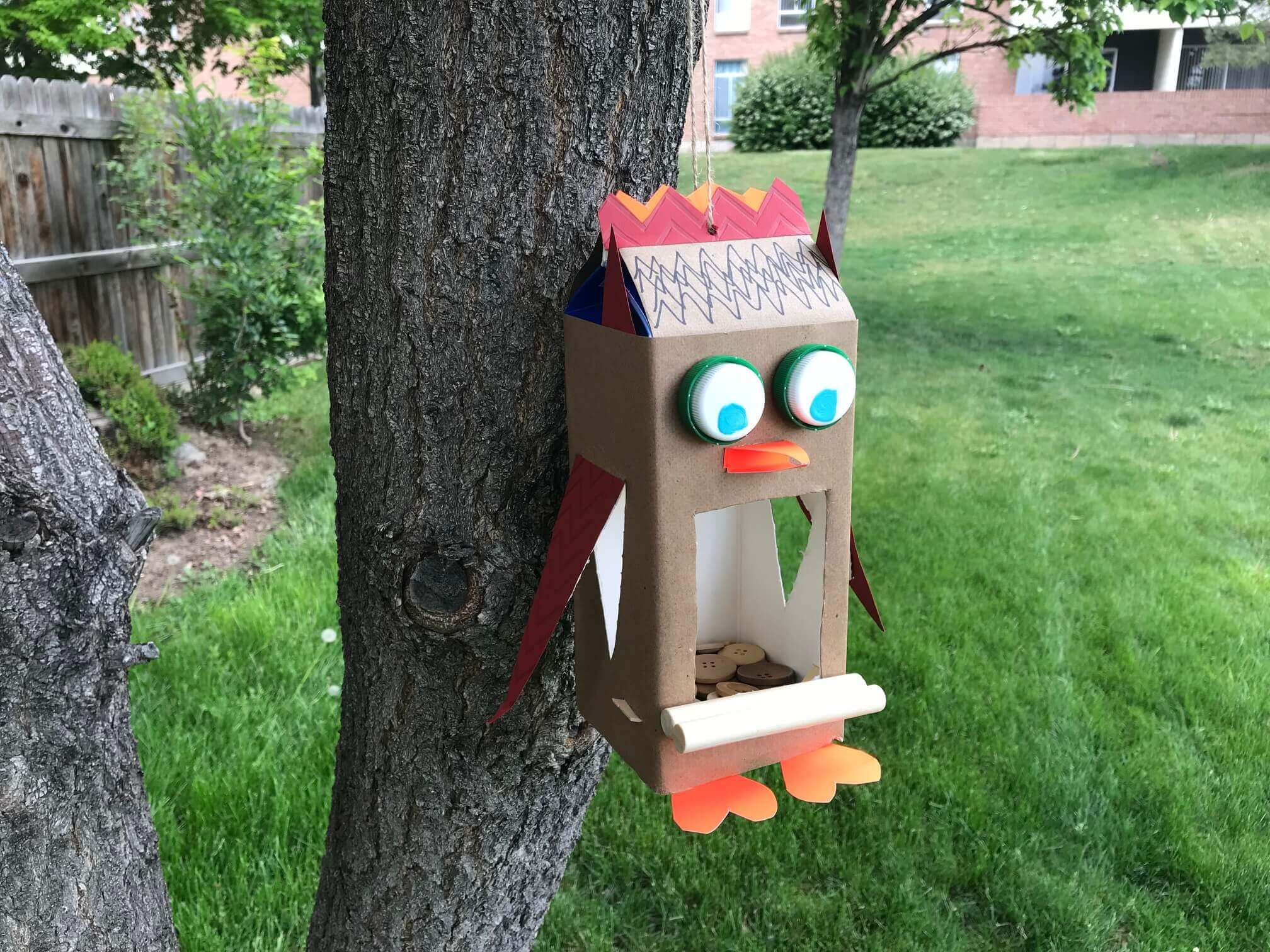 Make your own milk carton bird feeder - DIY